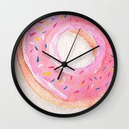 Donut_food illustration _watercolor Wall Clock