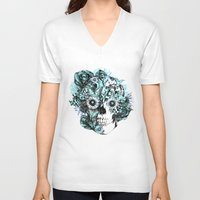 ohm V-neck T-shirts featuring Blue grunge ohm skull by Kristy Patterson Design