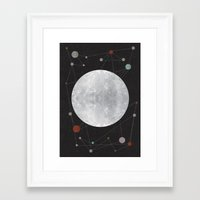 the moon Framed Art Prints featuring Moon by FLATOWL