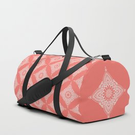 Boho motif on 'living coral' background Duffle Bag