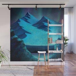 Aurora Borealis In The Mountain Pass Wall Mural
