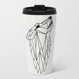 Geometric Howling Wild Wolf Travel Mug
