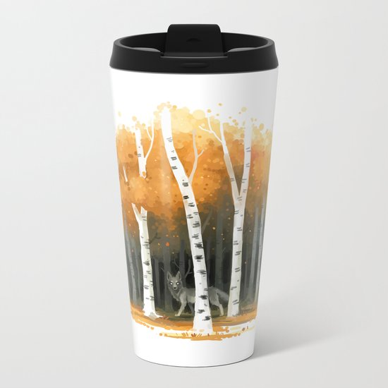 Autumn Wolf Metal Travel Mug