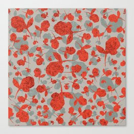 Red and Gray Floral Pattern Canvas Print