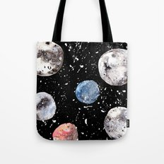 Many Moons - Watercolor - Planets - Solar System - Galaxy - Universe - Cosmic - Outerspace Tote Bag