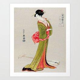 A Geisha in Green Art Print