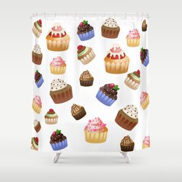 Cakes Illustration Shower Curtain