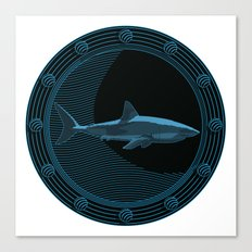 Engraved Shark Canvas Print