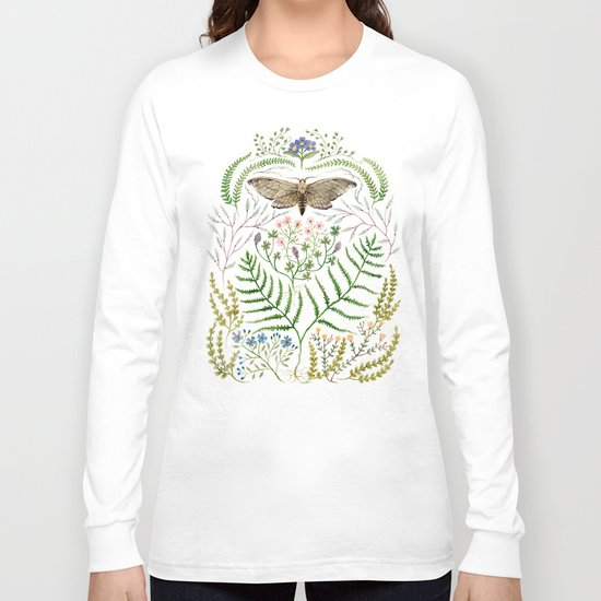 Moth with Plants II Long Sleeve T-shirt