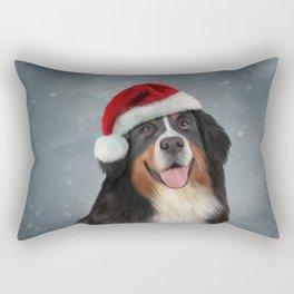 Bernese Mountain Dog in red hat of Santa Claus Rectangular Pillow