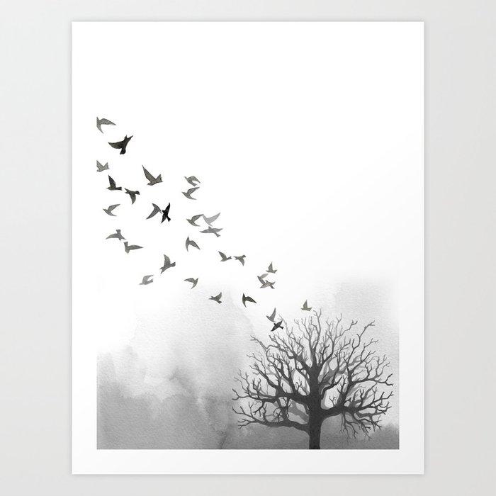 Descubre el motivo BIRDS AND TREE de Art by ASolo como póster en TOPPOSTER