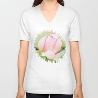 lotus V-neck T-shirts featuring Lotus by Karl-Heinz Lüpke