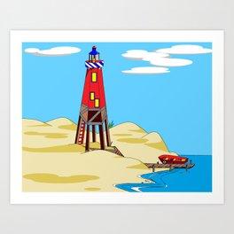 A Lighthouse on a Sandy Beach on a Sunny Day Art Print