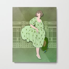 AUDREY: Art Deco Lady in Green and Olive Metal Print
