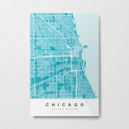 Chicago Map | Blue & Cyan | More Colors, Review My Collections Art Print Metal Print