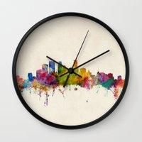 minneapolis Wall Clocks featuring Minneapolis Minnesota Skyline by artPause