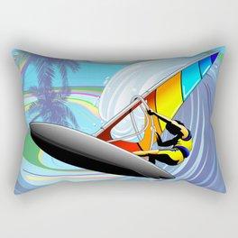 Windsurfer on Ocean Waves Rectangular Pillow