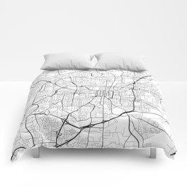 Greensboro Map, USA - Black and White Comforters