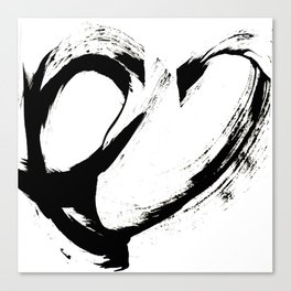 Brushstroke 6: a minimal, abstract, black and white piece Canvas Print