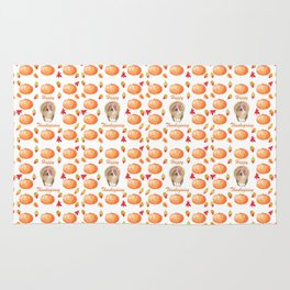 Watercolour Pumpkin Turkey Pattern Happy Thanksgiving Rug