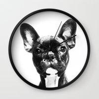 french bulldog Wall Clocks featuring French BullDog by Maioriz Home