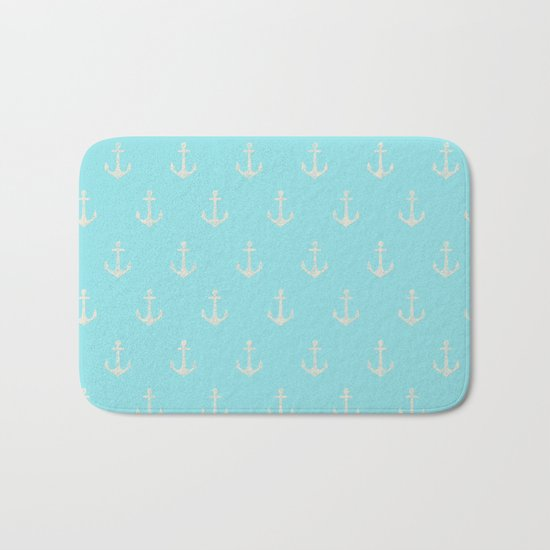 Maritime Aqua and White Anchor Pattern on #Society6 Bath Mat