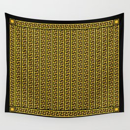 Greek Key Full - Gold and Black Wall Tapestry