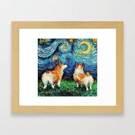Corgi in Starry Night Framed Art Print