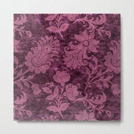 Burgundy Turquoise Velvet Floral Pattern 01 Metal Print