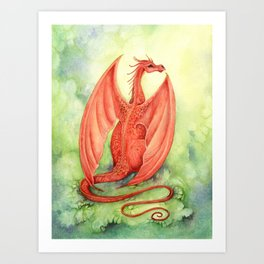 Vermillion Dragon Art Print