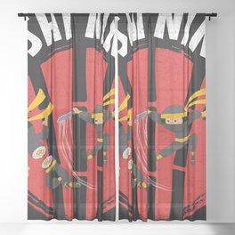 Sushi Ninja Warrior Fight Sword Sashimi Sheer Curtain