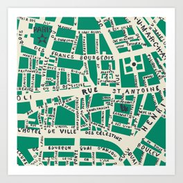 PARIS MAP GREEN Art Print