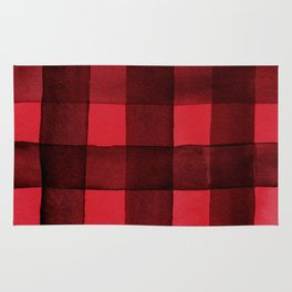 Buffalo Plaid Watercolor in Red Rug