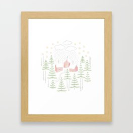 Snowy Winter Forest Village Drawing Framed Art Print