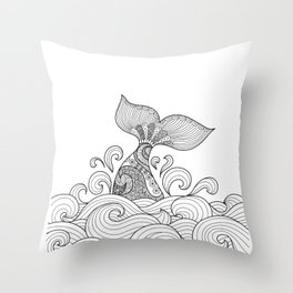 Whale Tail Style - Sea World and Ocean Zentangle Animal Design Throw Pillow