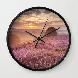 III - Blooming heather at sunrise, Posbank, The Netherlands Wall Clock