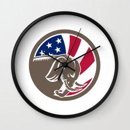 Republican Elephant Mascot USA Flag Wall Clock
