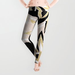 Modern black gold pink abstract floral pattern Leggings