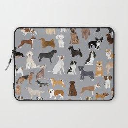 Mixed Dog lots of dogs dog lovers rescue dog art print pattern grey poodle shepherd akita corgi Laptop Sleeve