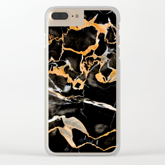 Black & gold marble Clear iPhone Case