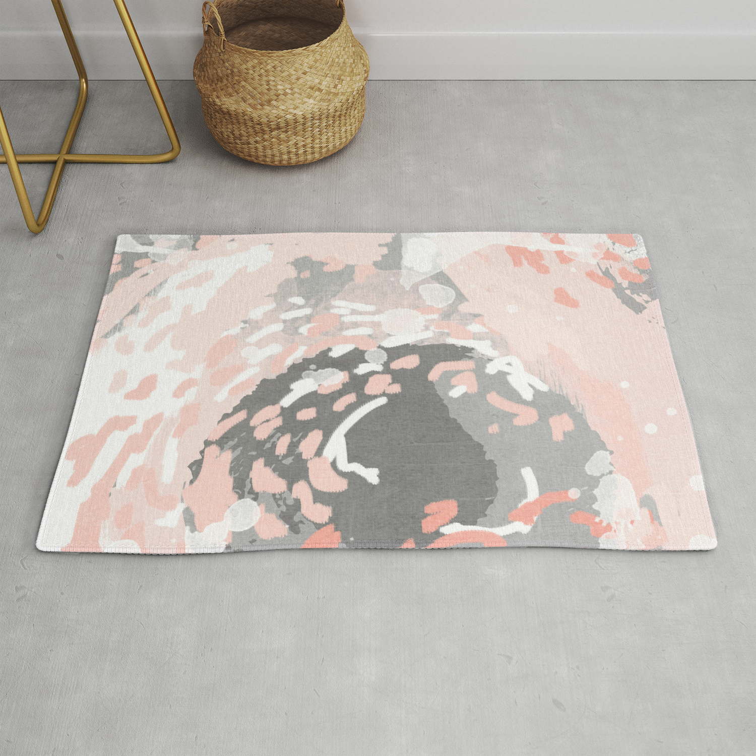 Image of: Penny Millennium Pink And Grey Abstract Canvas Large Art Decor Dorm College Nursery Rug By Charlottewinter Society6