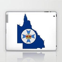Queensland Australia Map with Flag of Queensland QLD Laptop & iPad Skin