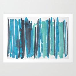 35|  190408 Blue Abstract Watercolour Art Print
