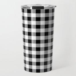 Plaid (black/white) Travel Mug