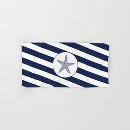Nautical Starfish Navy Blue & White Stripes Beach Hand & Bath Towel