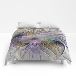 Abstract Flower, Colorful Floral Fractal Art Comforters
