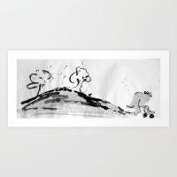 running Art Prints featuring Running by Som Somni