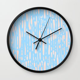 Sweet Life Ice Melt Stripes Peach Coral Pink + Blue Raspberry Wall Clock