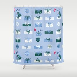 Giftmas - Blue Shower Curtain