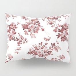 Shabby vintage coral burgundy brown roses floral Pillow Sham